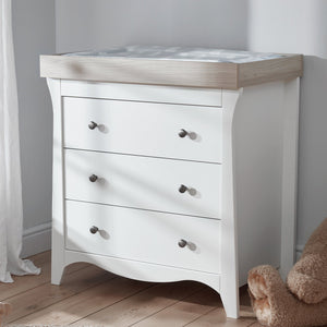 Clara 3 Drawer Dresser & Changer - White and Ash Furniture CuddleCo