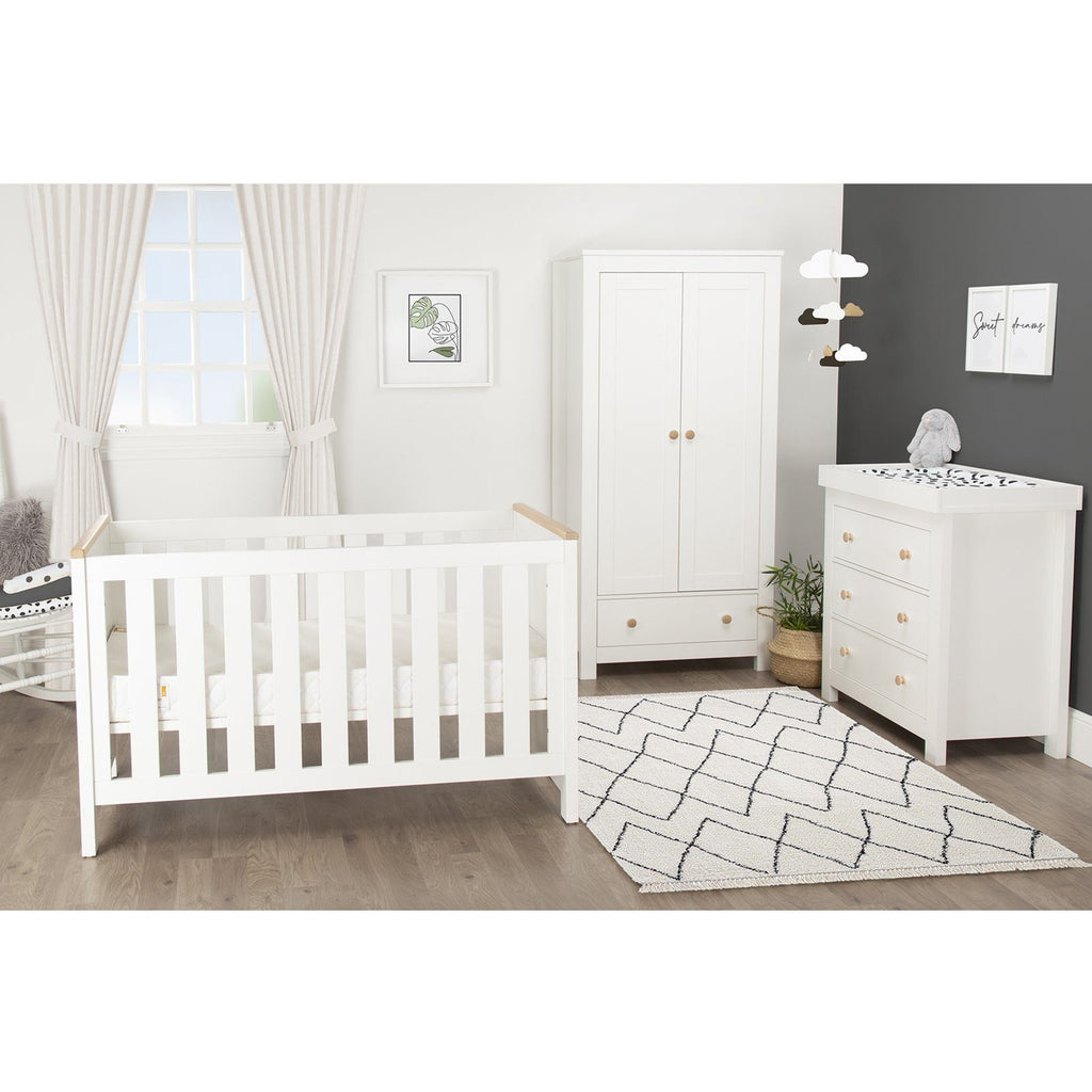 Aylesbury 3 Piece Nursery Room Set White And Ash + Mother&Baby Rose Gold Anti-Allergy Sprung Cot bed Mattress Furniture CuddleCo
