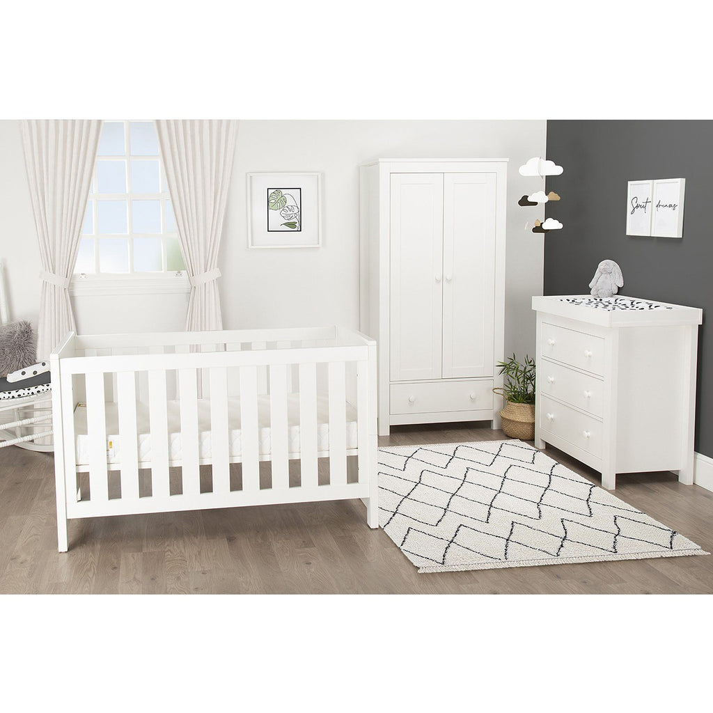 Aylesbury 3 Piece Nursery Room Set White + Mother&Baby White Gold Anti-Allergy Pocket Sprung Cot bed Mattress Furniture CuddleCo