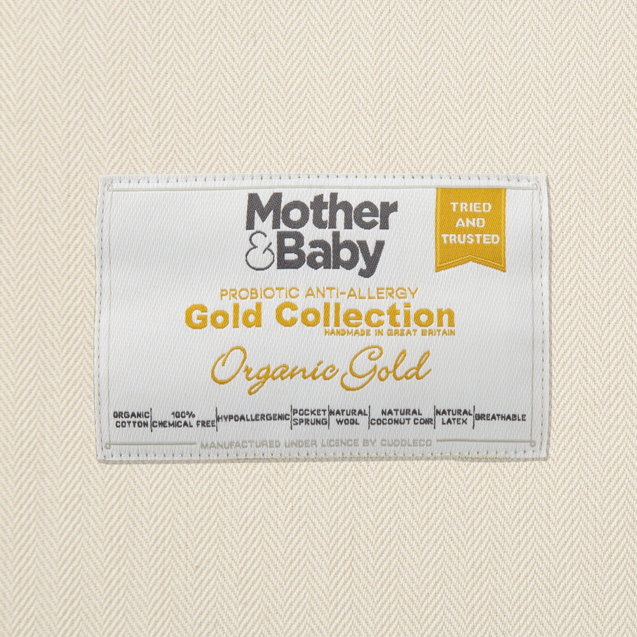 Mother&Baby Organic Gold Chemical Free Cot Bed Mattress 140 x 70cm Mother & Baby
