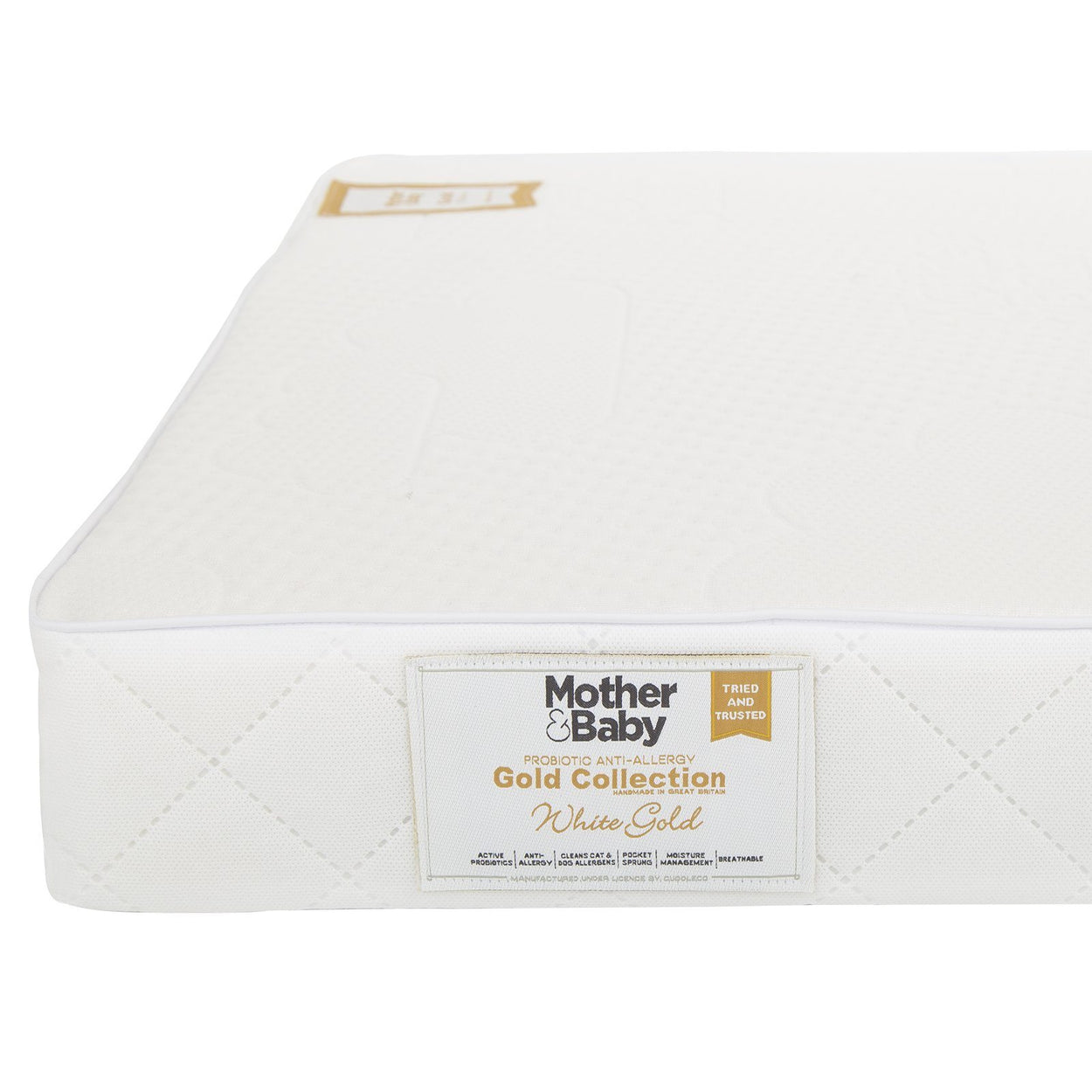 Mother&Baby White Gold Anti-Allergy Foam Cot bed Mattress 140 x 70cm Mother & Baby