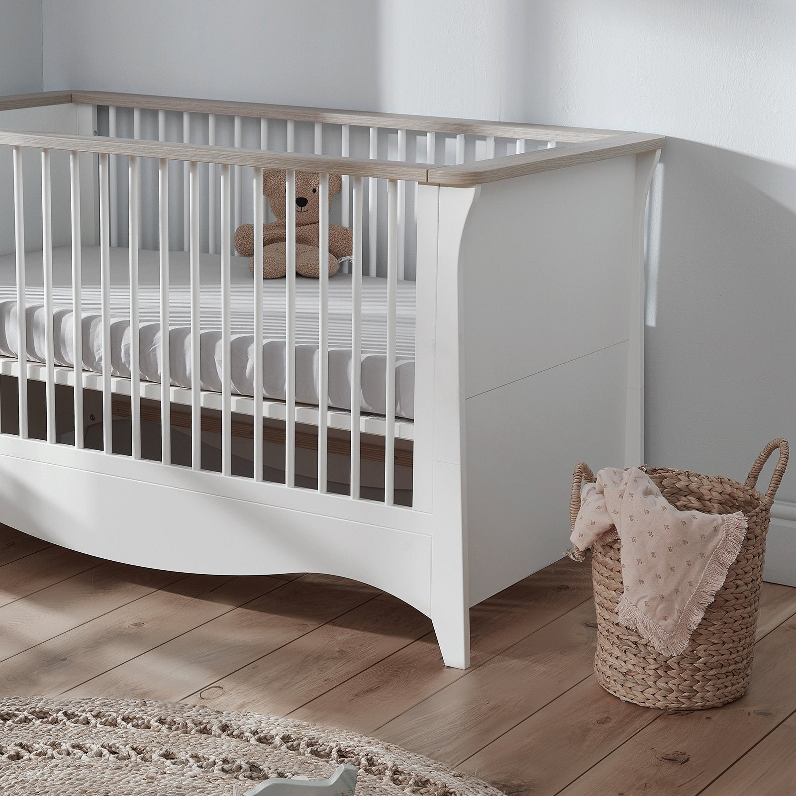 Clara Cot Bed White-Driftwood Ash + Free Anti-Allergy Mattress Furniture CuddleCo