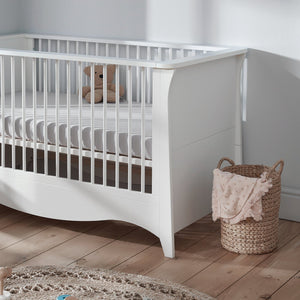 Clara Cot Bed White + Free Anti-Allergy Mattress Furniture CuddleCo
