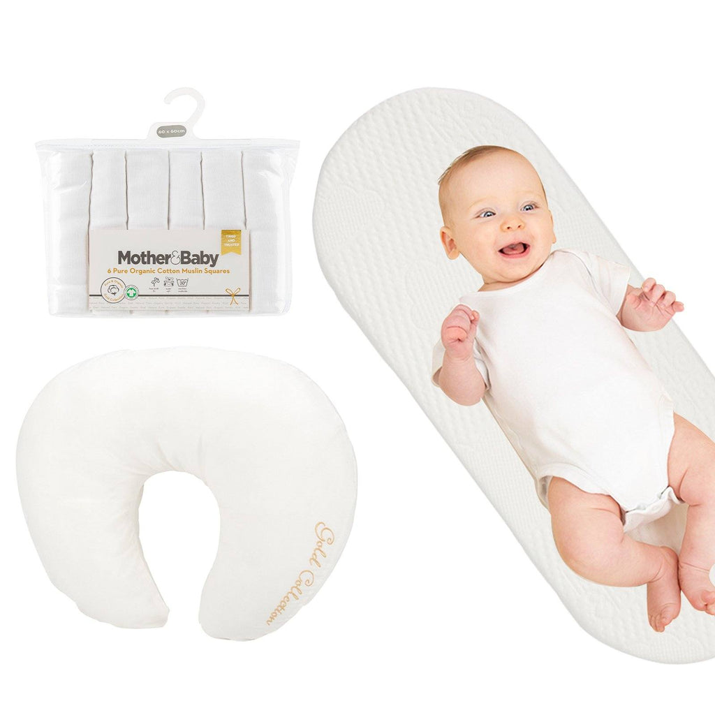Mother&Baby Large Moses Basket Mattress and Feeding Pillow bundle Mother & Baby