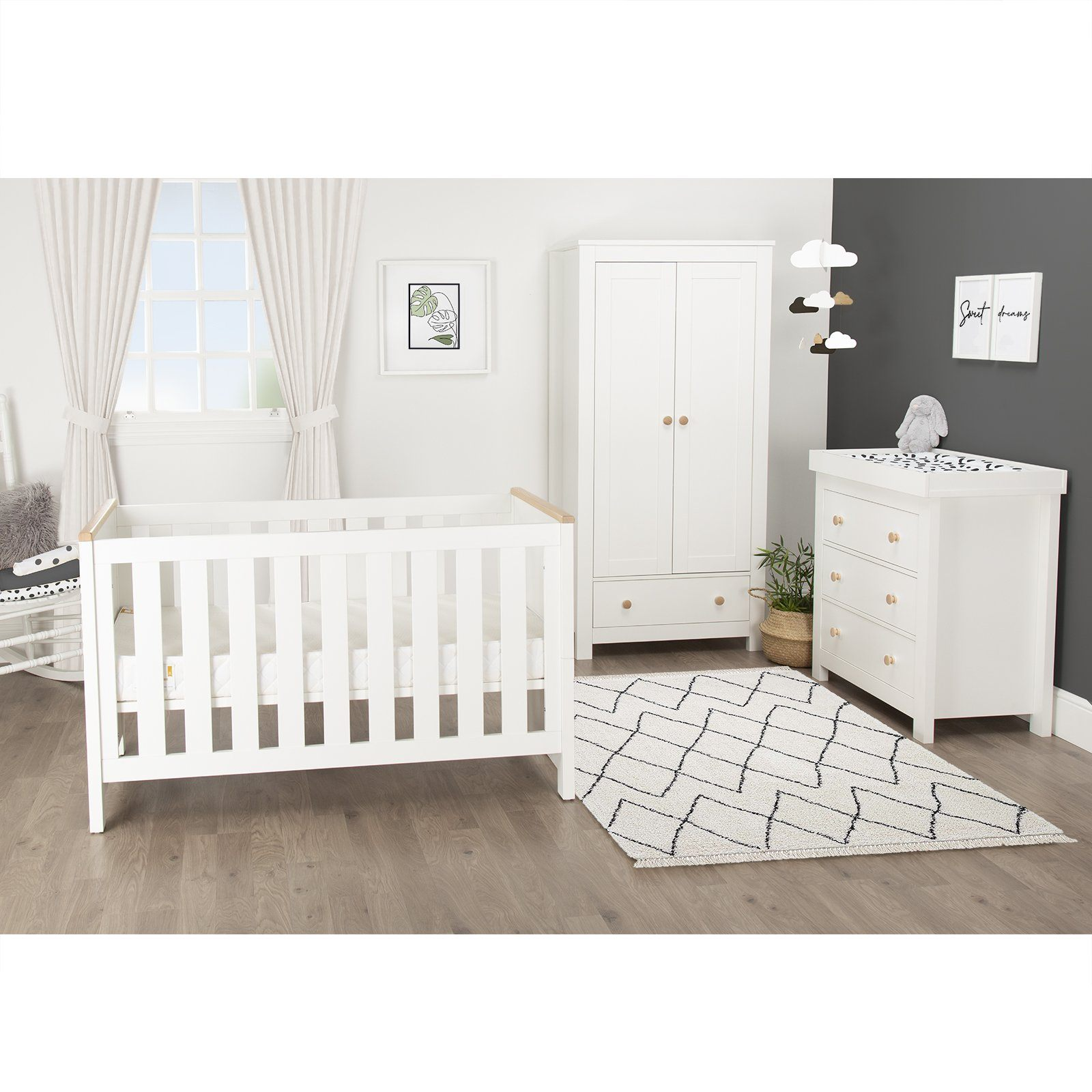 Aylesbury Cot Bed 140x70cm - White/Ash Furniture CuddleCo
