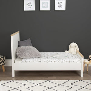 Aylesbury Cot Bed White and Ash + Mother&Baby Organic Gold Chemical Free Cot Bed Mattress Furniture CuddleCo