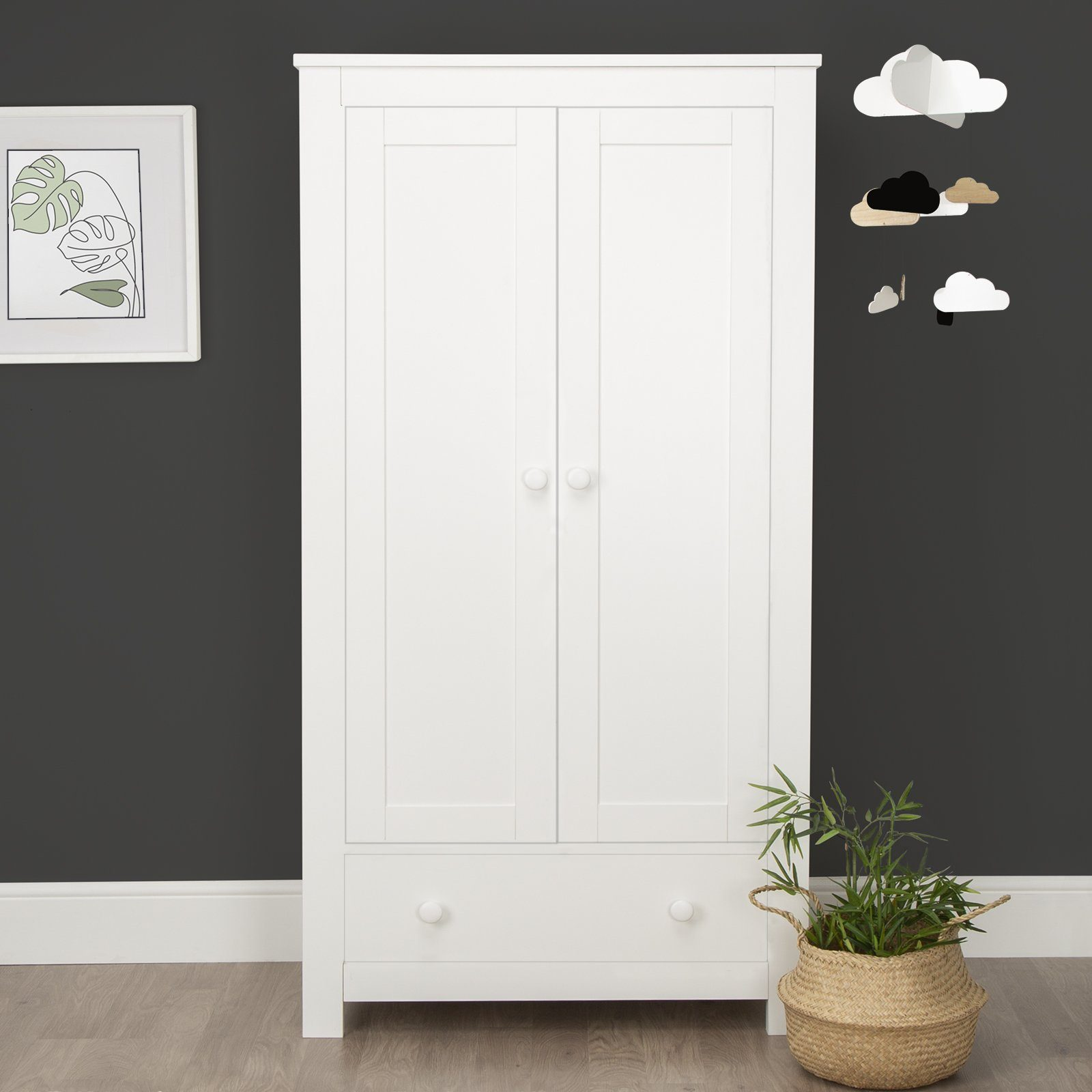 Aylesbury 3pc set - 3 drawer dresser & Changer , Cot bed and 2 Door double wardrobe - White Furniture CuddleCo