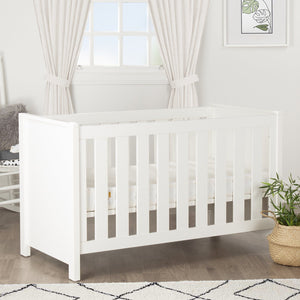 Aylesbury Cot Bed White + Mother&Baby White Gold Anti-Allergy Pocket Sprung Cot bed Mattress Furniture CuddleCo