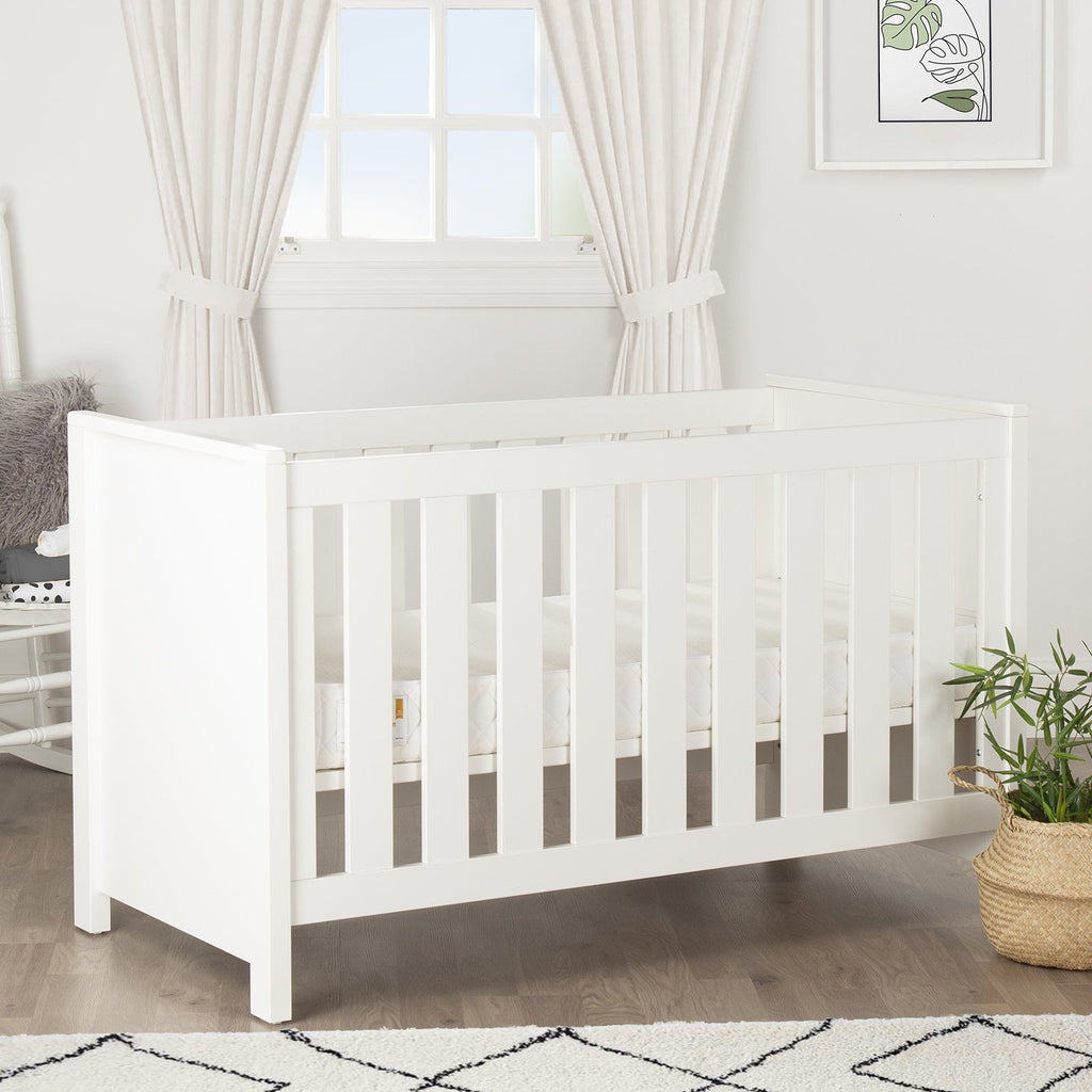 Aylesbury Cot Bed White + Mother&Baby Rose Gold Anti-Allergy Sprung Cot bed Mattress Furniture CuddleCo