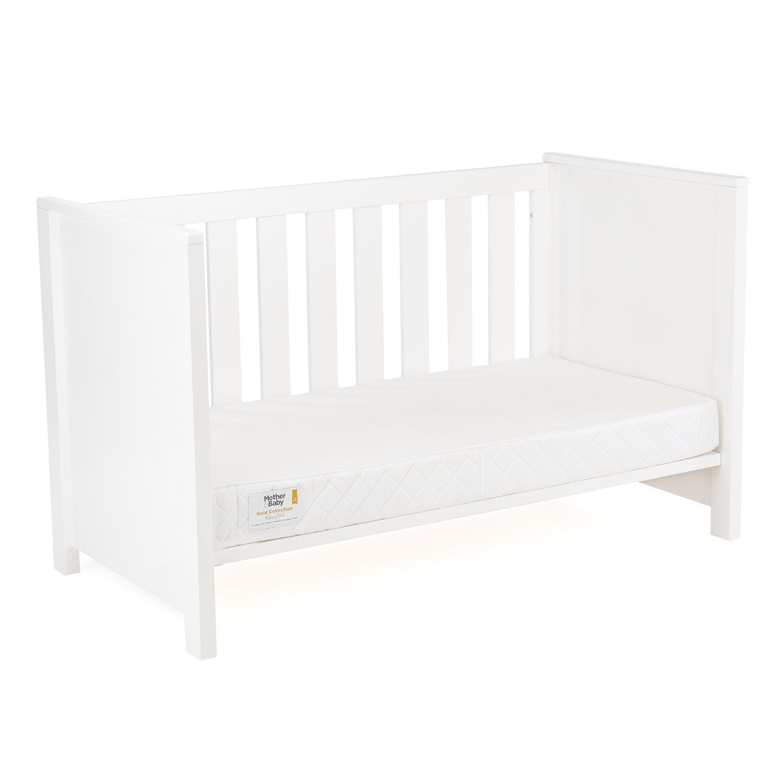 Aylesbury Cot Bed White + Mother&Baby Organic Gold Chemical Free Cot Bed Mattress Furniture CuddleCo