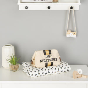 Baby Necessities Canvas Off-White Stripes & Black/Gold Bag Childhome
