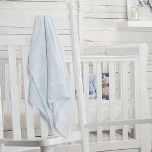 Comfi-Hugs Luxury Bamboo Cellular Blanket - Blue Nursery cuddleco