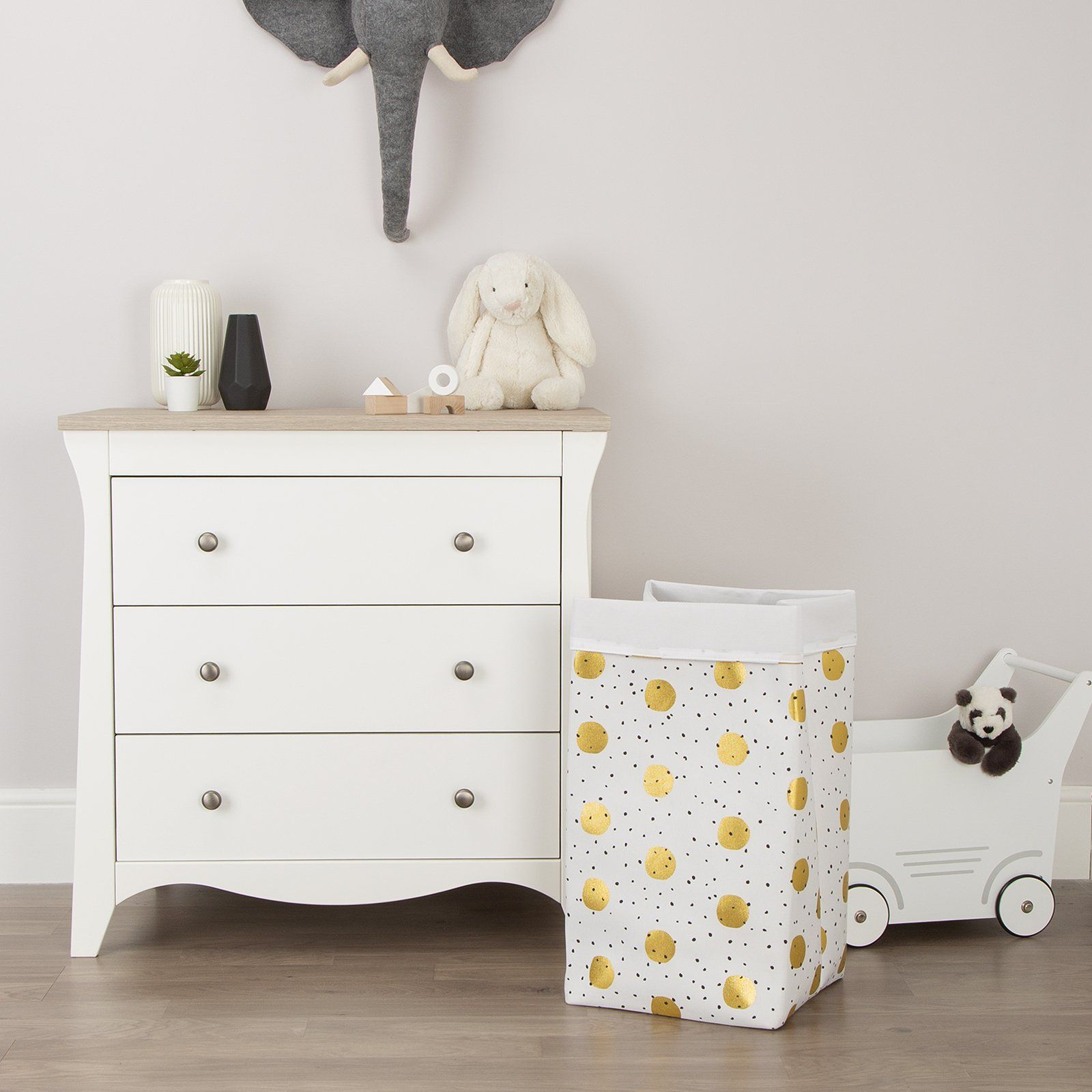 Canvas Storage Box 32 x 32 x 60 Gold Dots Childhome