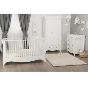 Clara Cot Bed White + Signature Hypo-Allergenic Bamboo Pocket Sprung Cot Bed Mattress Furniture CuddleCo