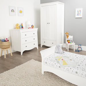 Clara 3 Piece Nursery Room Set White + Mother&Baby Organic Gold Chemical Free Cot Bed Mattress Furniture CuddleCo