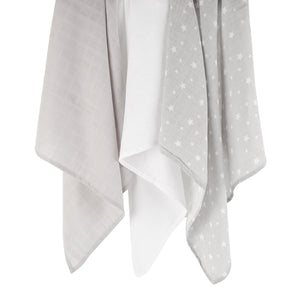 Mother&Baby Organic Cotton Muslins 6 Pack -Grey Star CuddleCo