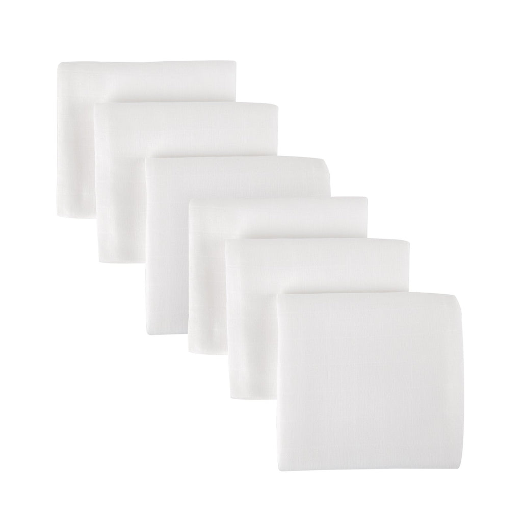 Mother&Baby Organic Cotton Muslins 6 Pack - White Mother & Baby