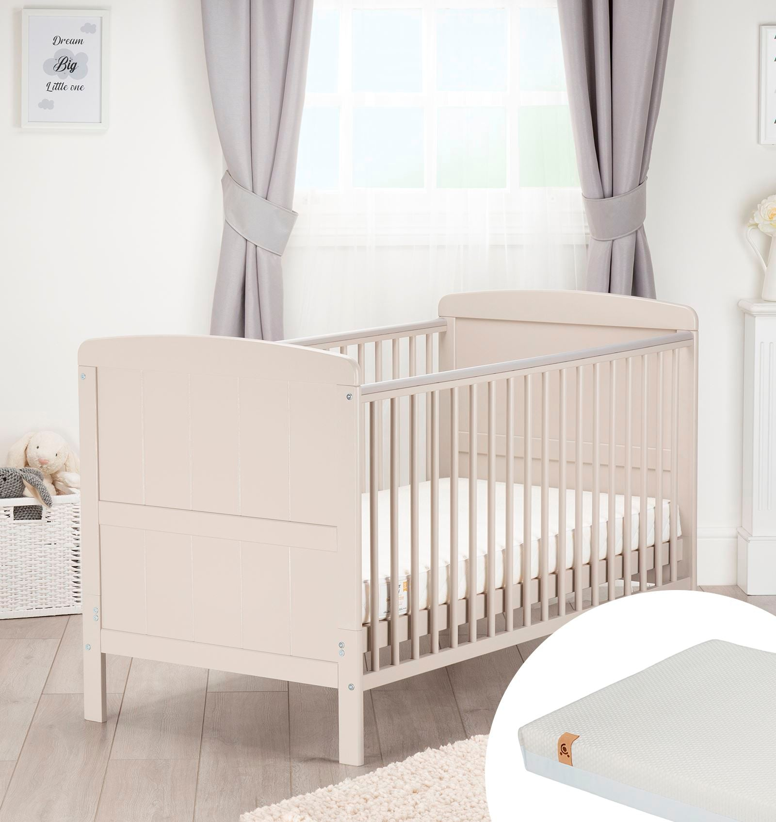 Juliet Cot Bed Dove Grey + Signature Hypo-Allergenic Bamboo Pocket Sprung Cot Bed Mattress Furniture CuddleCo