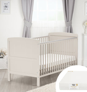 Juliet Cot Bed Dove Grey + Mother&Baby First Gold Anti-Allergy Foam Cot bed Mattress Furniture CuddleCo