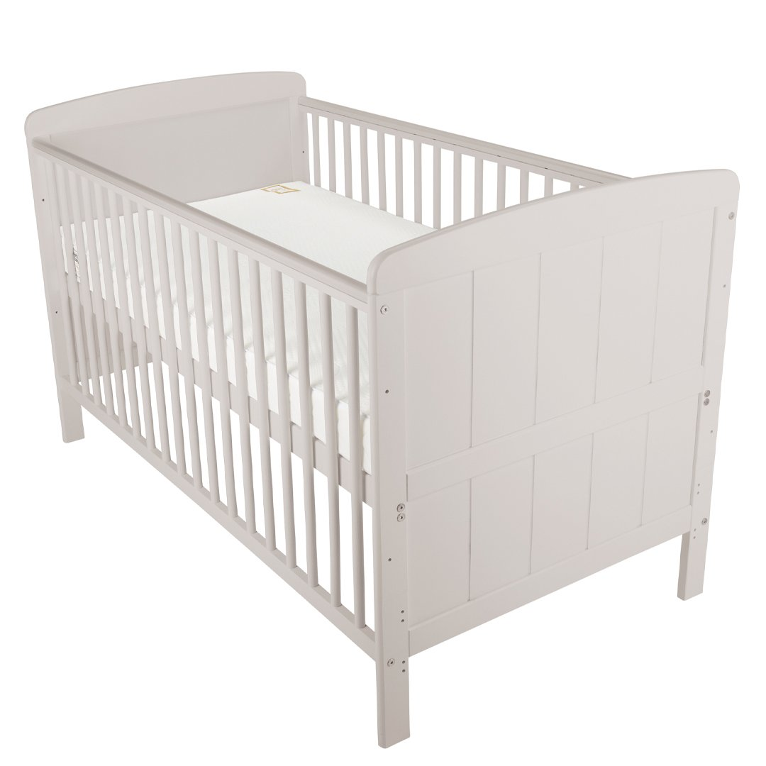 Juliet Cot Bed Dove Grey + Mother&Baby White Gold Anti-Allergy Pocket Sprung Cot bed Mattress CuddleCo