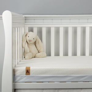 Juliet Cot Bed Dove Grey + Harmony Hypo-Allergenic Bamboo Sprung Cot Bed Mattress CuddleCo