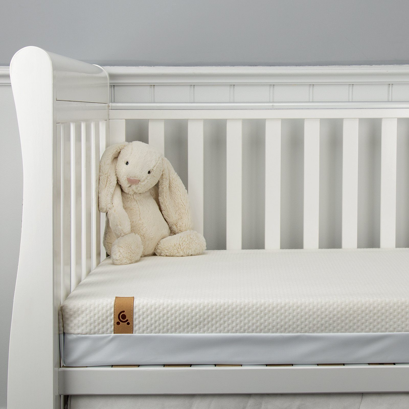Juliet Cot Bed White + Harmony Hypo-Allergenic Bamboo Sprung Cot Bed Mattress CuddleCo
