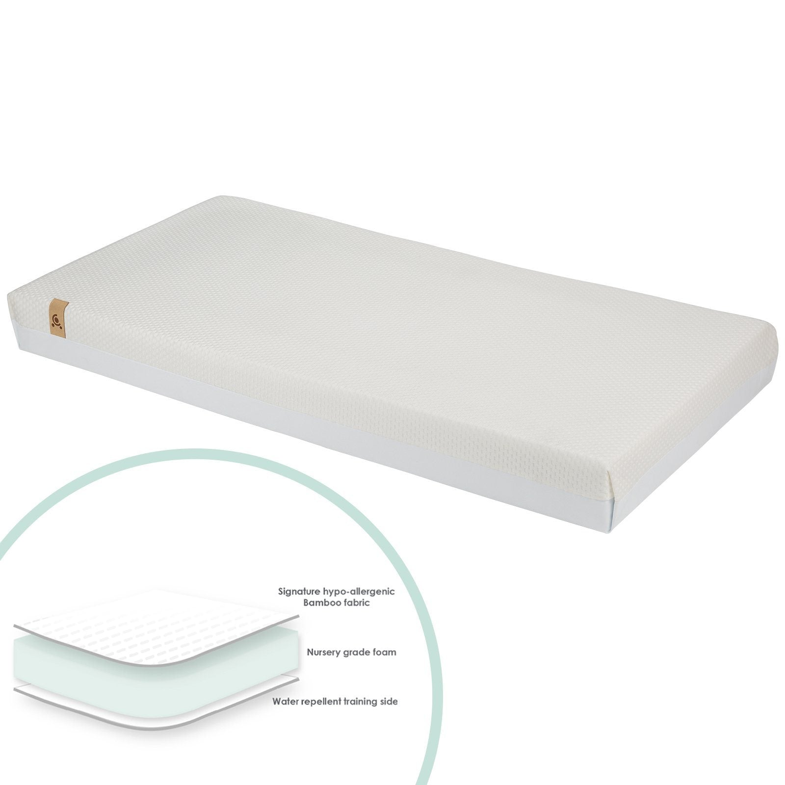Lullaby Hypo-Allergenic Bamboo Foam Cot Mattress CuddleCo