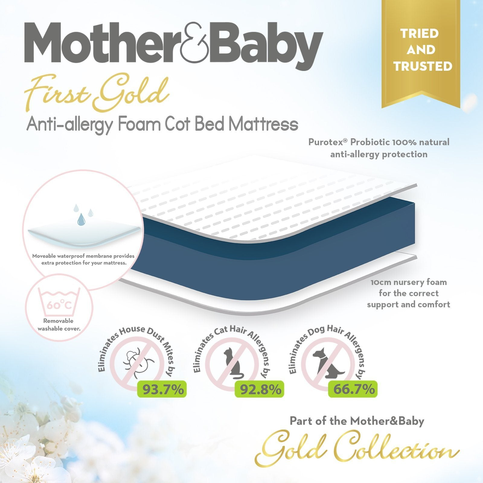 Juliet CotBed with Mother&Baby First Gold Foam Mattress - Dove Grey Mother & Baby