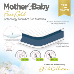 Juliet CotBed with Mother&Baby First Gold Foam Mattress - White Mother & Baby