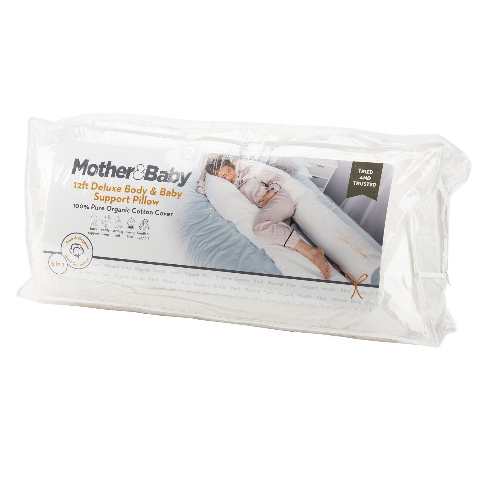 Mother&Baby Organic Cotton 12ft Deluxe Body and Baby Support Pillow Mother & Baby