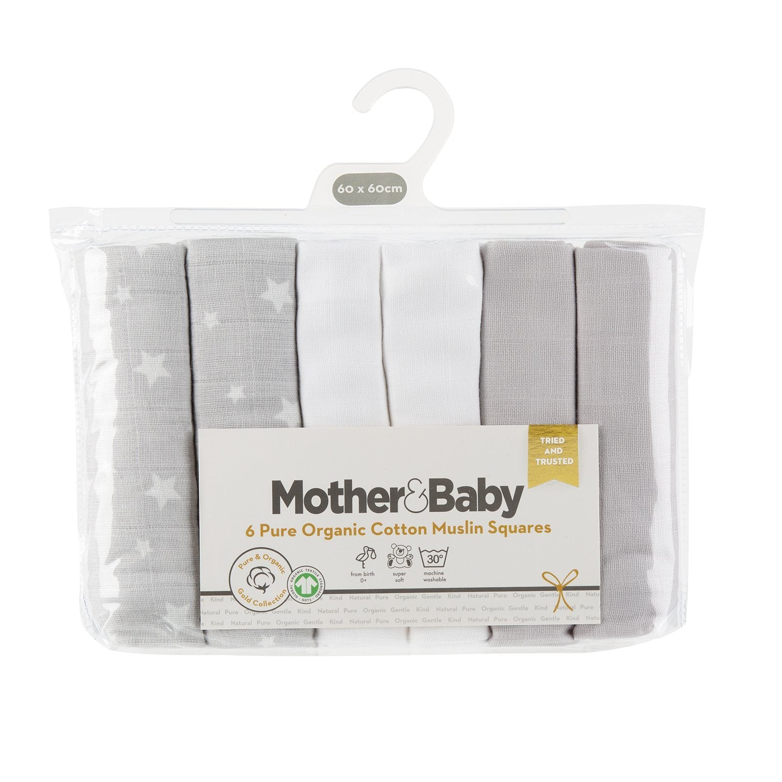 Mother&Baby Organic Cotton Muslins 6 Pack -Grey Star Mother & Baby