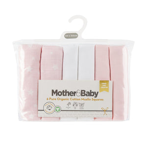 Mother&Baby Organic Cotton Muslins 6 Pack - Pink Star Mother & Baby