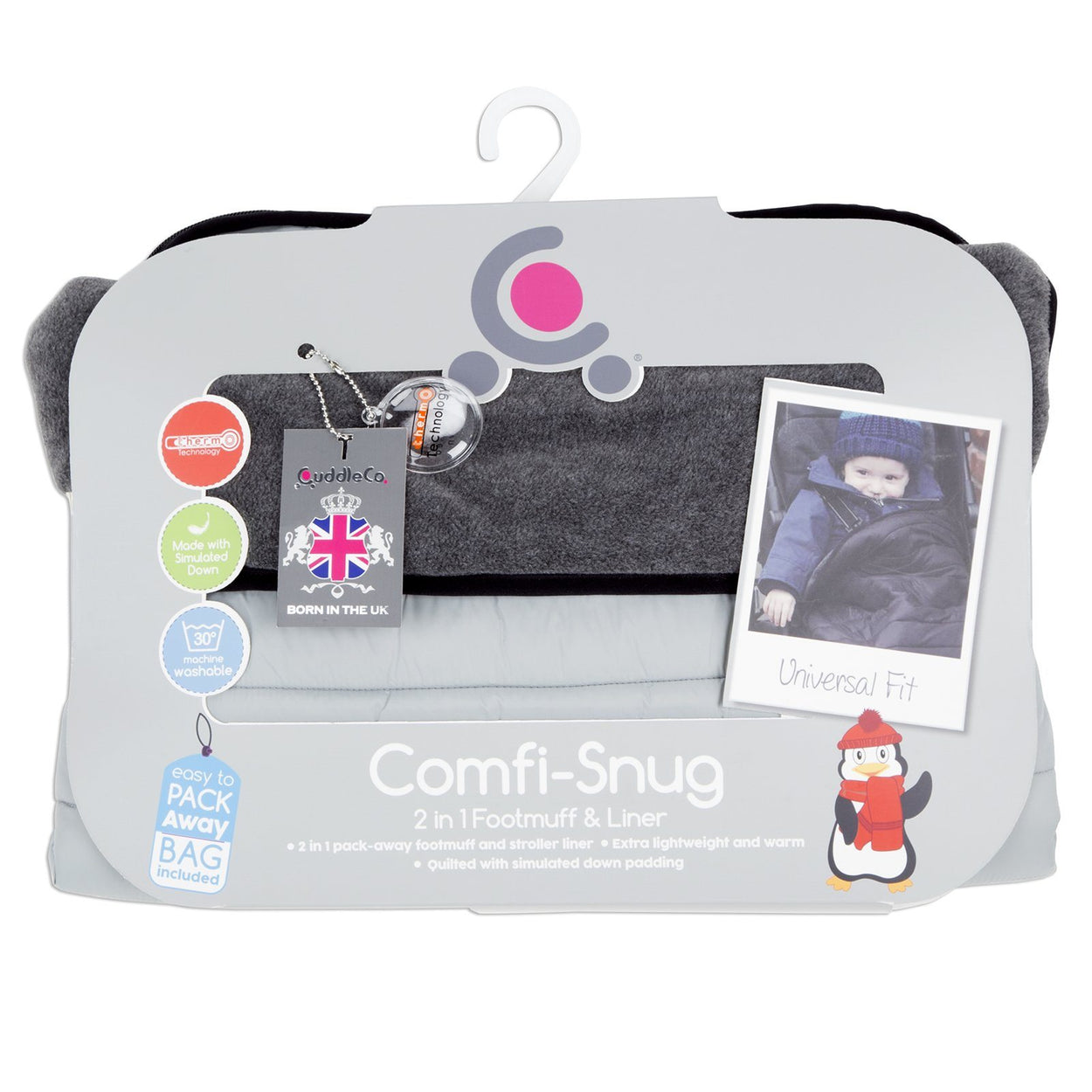 Comfi-Snug 2in1 Footmuff & Liner - Pewter On The Go cuddleco