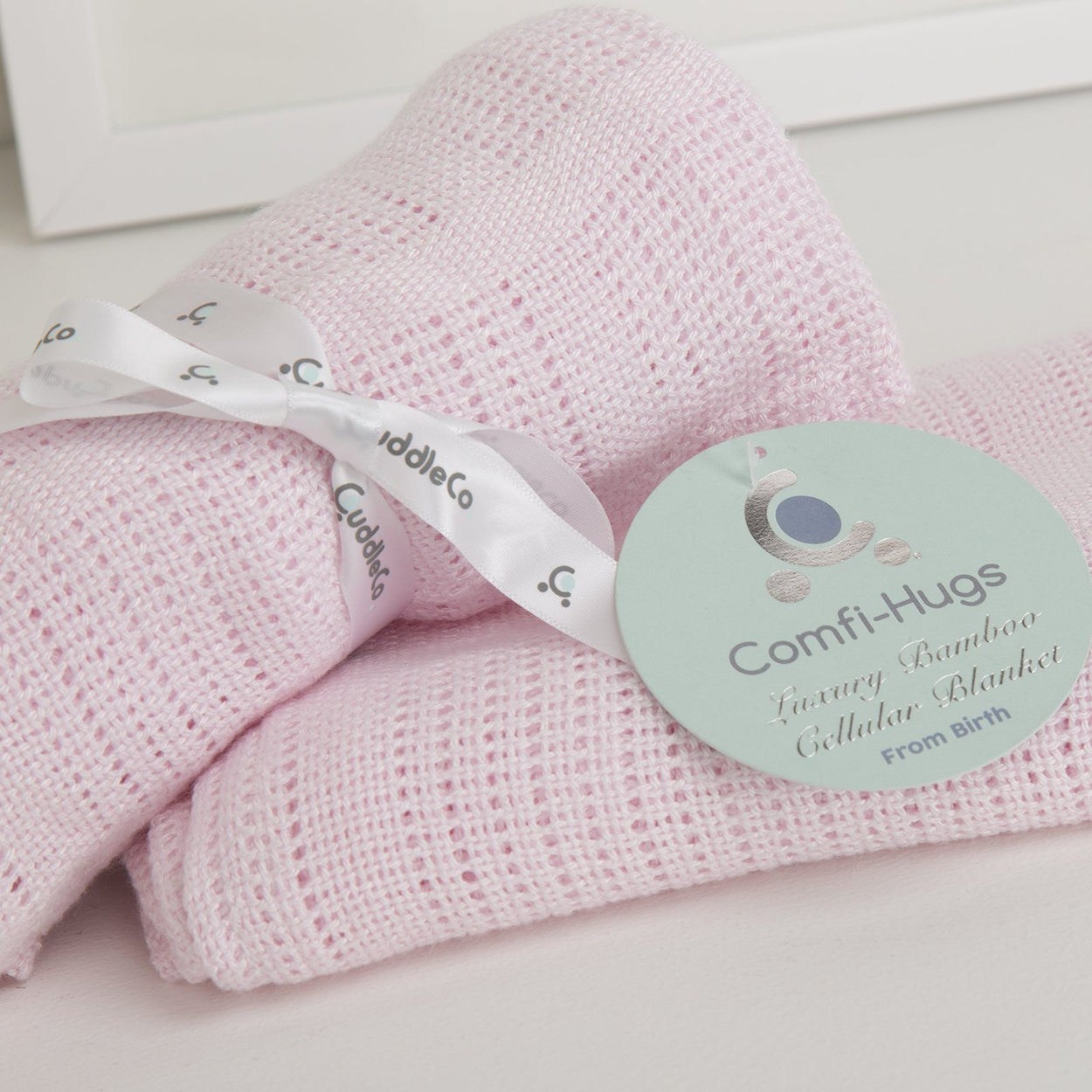 comfi hugs luxury bamboo cellular blanket pink