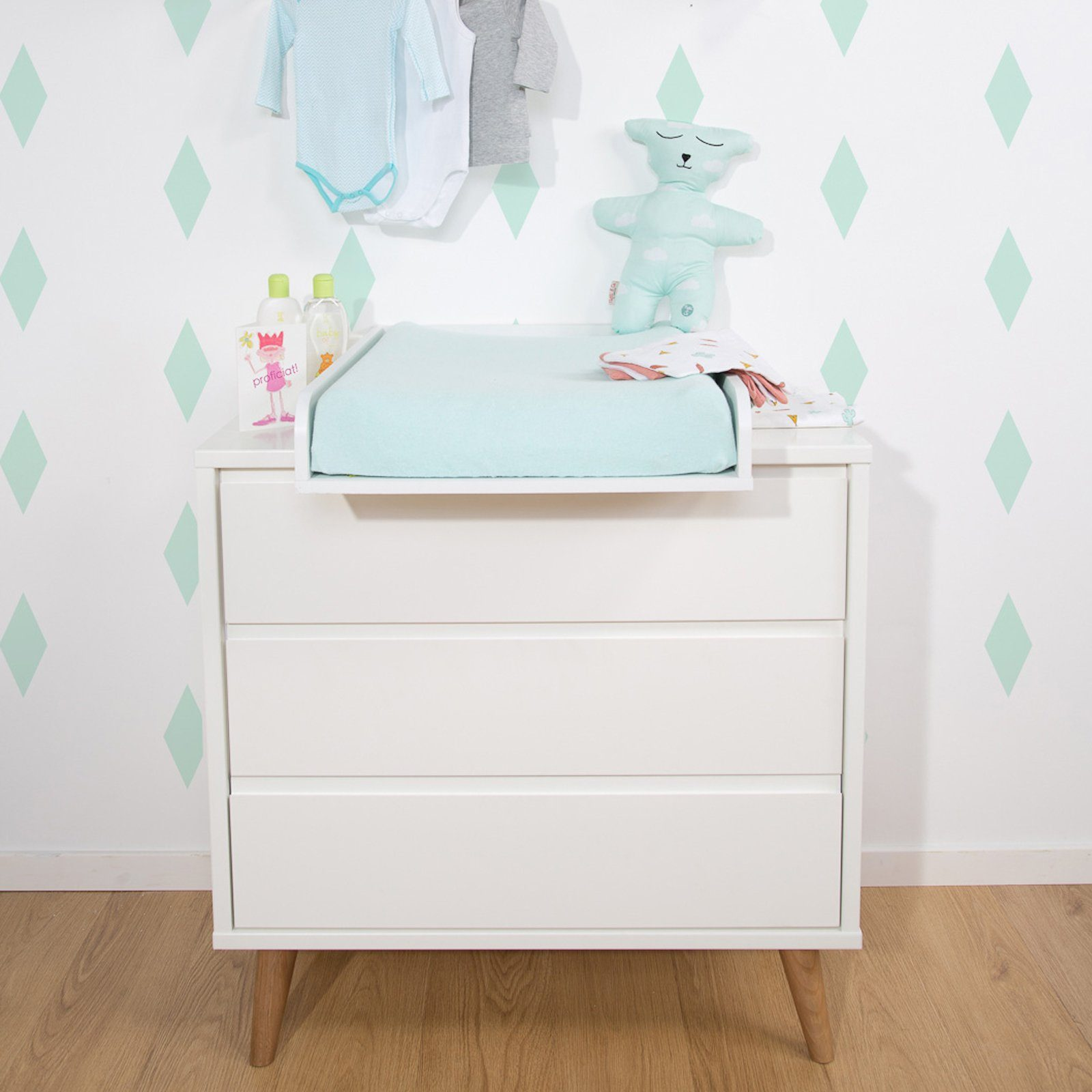 RETRO RIO WHITE CHEST 3 DRAWERS + CHANGING UNIT Furniture Childhome