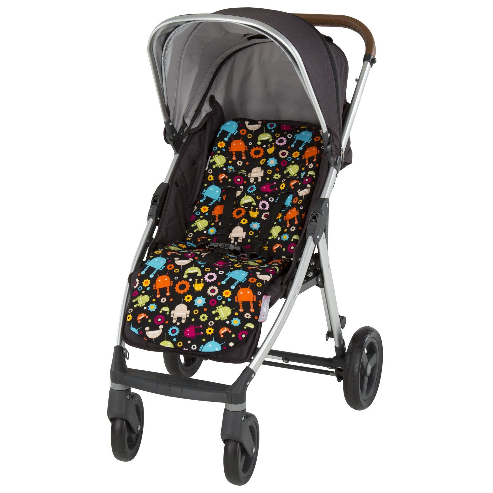 Comfi-Cush Memory Foam Stroller Liner - Robots On The Go cuddleco