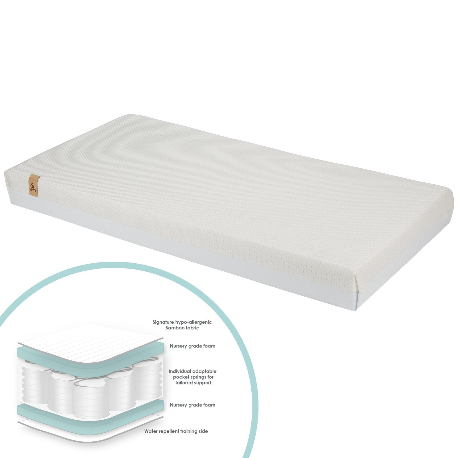 Signature Hypo-Allergenic Bamboo Pocket Sprung Cot Mattress CuddleCo
