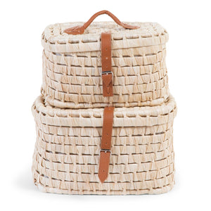 Small Corn Husk Storage baskets Leather Belts 2 in 1 Nursery Decor Childhome