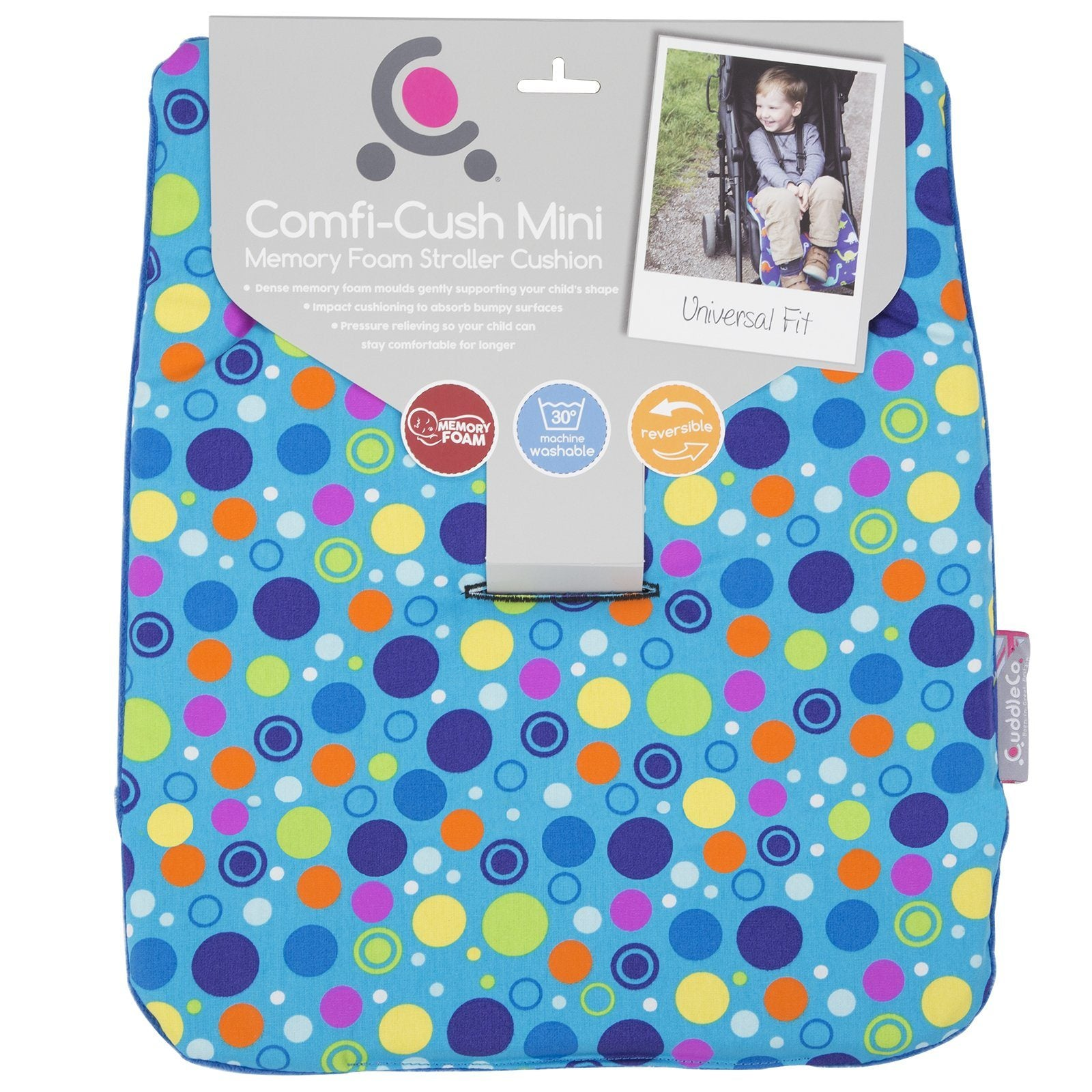 Comfi-Cush Mini Memory Foam Stroller Cushion - Spot the Dot On The Go cuddleco