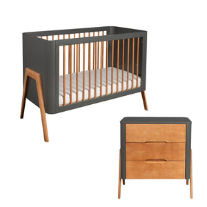 Troll Torsten 2 Piece Set - Cot and Dresser - Grey/Teak Furniture Troll