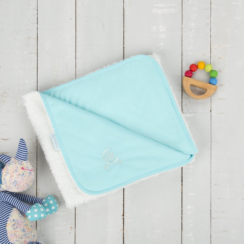 Comfi-Love Luxury Reversible Blanket - Turquoise Nursery cuddleco