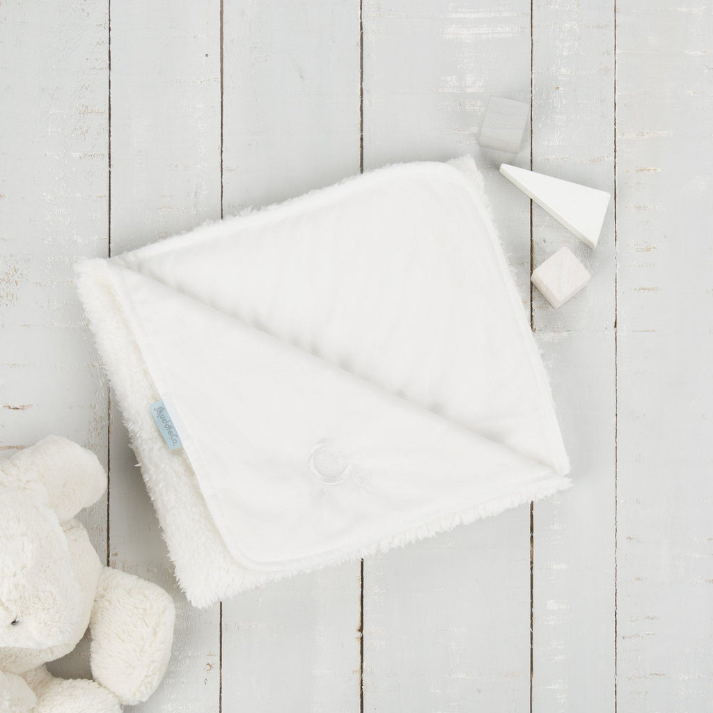 Comfi-Love Luxury Reversible Blanket - White Nursery cuddleco