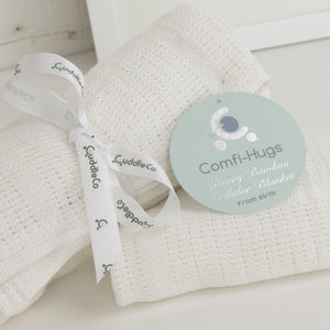 Comfi-Hugs Luxury Bamboo Cellular Blanket - White Nursery cuddleco