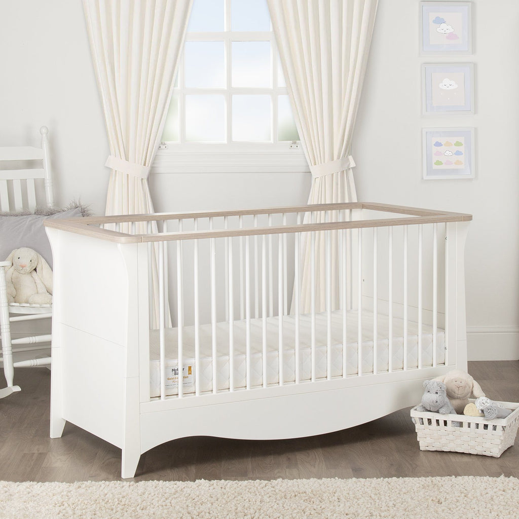 Clara Cot Bed White -Driftwood Ash + Mother&Baby White Gold Anti-Allergy Pocket Sprung Cot bed Mattress Furniture CuddleCo