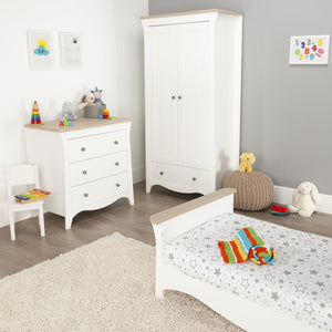 Clara Cot Bed White -Driftwood Ash + Mother&Baby Organic Gold Chemical Free Cot Bed Mattress Furniture CuddleCo