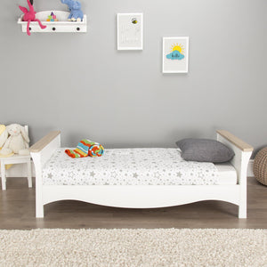 Clara Cot Bed White -Driftwood Ash + Mother&Baby Rose Gold Anti-Allergy Sprung Cot bed Mattress Furniture CuddleCo