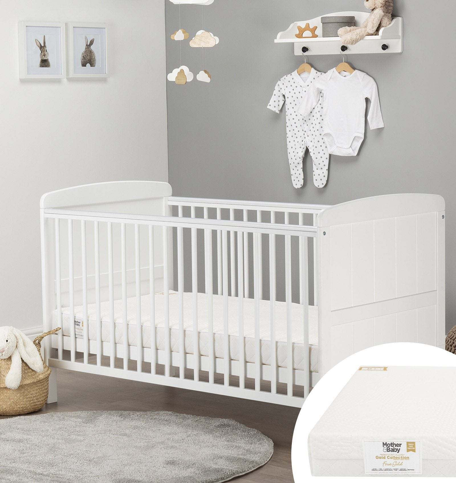 Juliet Cot Bed White + Mother&Baby First Gold Anti-Allergy Foam Cot bed Mattress Furniture CuddleCo