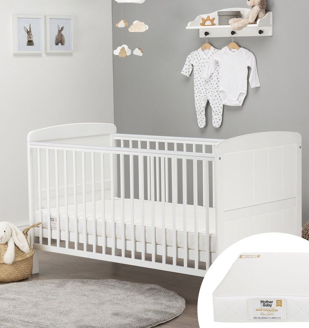 Juliet Cot Bed White + Mother&Baby Rose Gold Anti-Allergy Sprung Cot bed Mattress Furniture CuddleCo