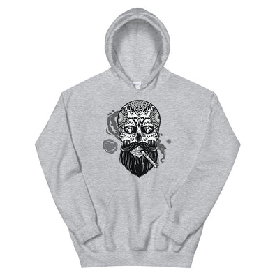 Bearded Sugar Skull with Cigar Hoodie
