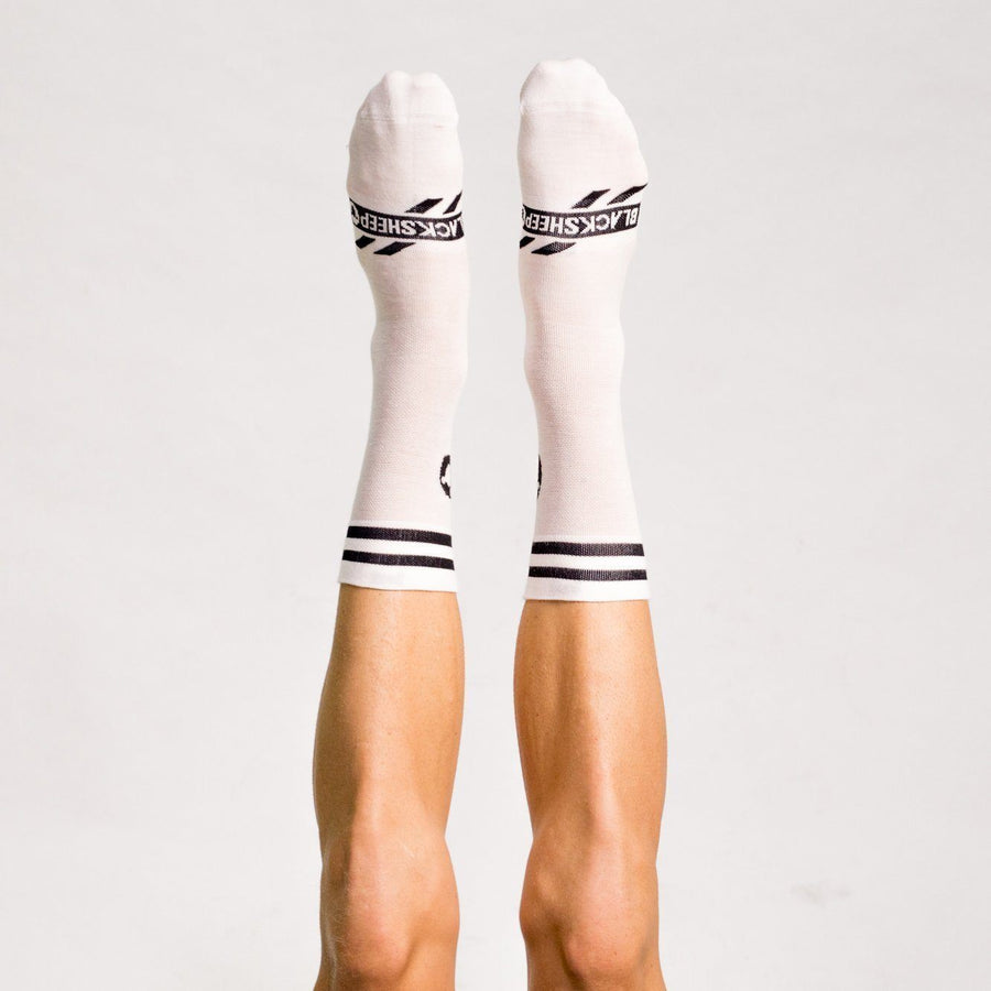 Merino White Stripe Sock